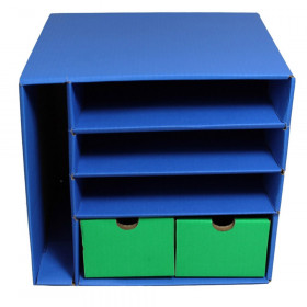 "Management Center, 4 Slots, Blue & 2 Drawers, Green, 12-3/8""H x 13-1/2""W x 12-3/8""D"