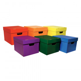 "Storage Totes, 6 Assorted Colors, 10-1/8""H x 12-1/4""W x 15-1/4""D, 6 Totes"