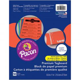 """Premium Tagboard, Pumpkin, 8-1/2"""" x 11"""", 50 Sheets"""