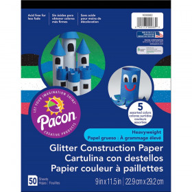 "Glitter Construction Paper Pad, 5 Assorted Colors, 9"" x 11-1/2"", 50 Sheets"