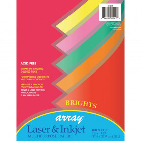 "Bright Multi-Purpose Paper, 5 Assorted Colors, 20 lb., 8-1/2"" x 11"", 100 Sheets"