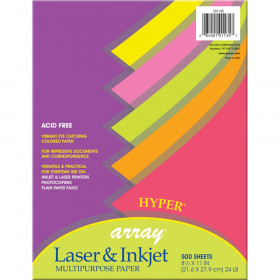 "Hyper Multi-Purpose Paper, 5 Assorted Colors, 24 lb., 8-1/2"" x 11"", 500 Sheets"