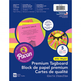 """Premium Tagboard, 5 Assorted Hyper Colors, 8-1/2"""" x 11"""", 50 Sheets"""