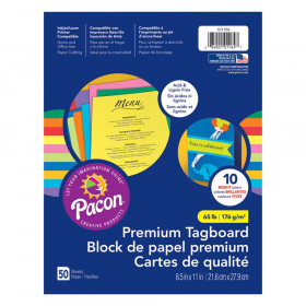 "Premium Tagboard, 10 Assorted Bright Colors, 8-1/2"" x 11"", 50 Sheets"