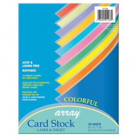 Pacon Card Stock 8.5X11 Colorful 50 Sheets