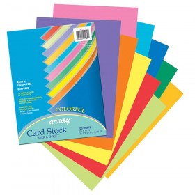 """Colorful Card Stock, 10 Assorted Colors, 8-1/2"""" x 11"""", 100 Sheets"""