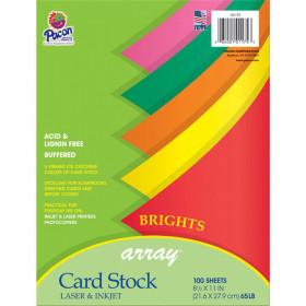 """Bright Card Stock, 5 Assorted Colors, 8-1/2"""" x 11"""", 100 Sheets"""