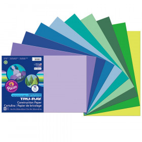 "Construction Paper, Cool Assorted, 12"" x 18"", 50 Sheets"