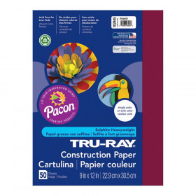 "Construction Paper, Burgundy, 9"" x 12"", 50 Sheets"