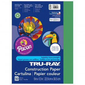 "Construction Paper, Holiday Green, 9"" x 12"", 50 Sheets"