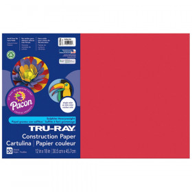 "Construction Paper, Holiday Red, 12"" x 18"", 50 Sheets"