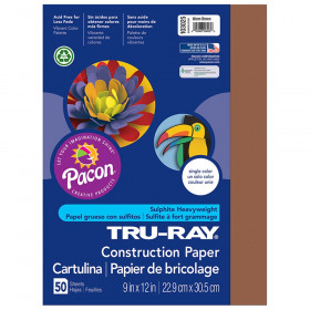 "Construction Paper, Warm Brown, 9"" x 12"", 50 Sheets"