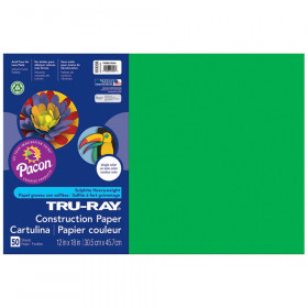 "Construction Paper, Festive Green, 12"" x 18"", 50 Sheets"