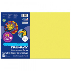 "Construction Paper, Lively Lemon, 12"" x 18"", 50 Sheets"