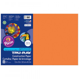 "Construction Paper, Electric Orange, 12"" x 18"", 50 Sheets"