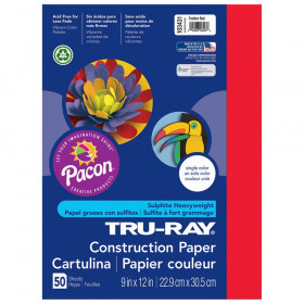 Tru Ray 9 X 12 Festive Red 50 Sht Construction Paper
