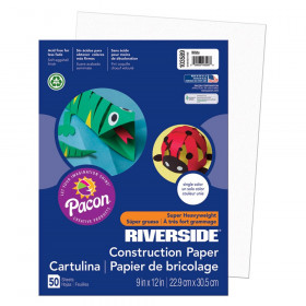 "Construction Paper, White, 9"" x 12"", 50 Sheets"