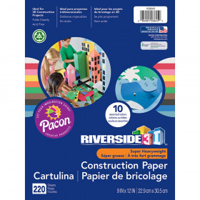 "Construction Paper, 10 Assorted Colors, 9"" x 12"", 220 Sheets"
