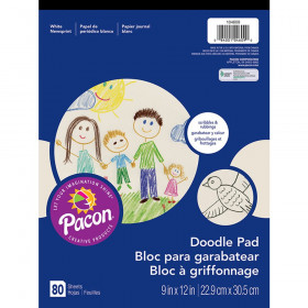 "Doodle Pad, White, 9"" x 12"", 80 Sheets"