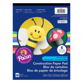 "Heavyweight Construction Paper Pad, 8 Assorted Colors, 9"" x 12"", 48 Sheets"