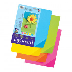"Super Bright Assorted Tagboard, 5 Super Bright Assorted Colors, 9"" x 12"", 100 Sheets"