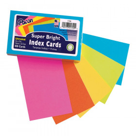 """Index Cards, 5 Super Bright Assorted Colors, Unruled, 3"""" x 5"""", 100 Cards"""