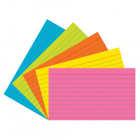 "Index Cards, 5 Super Bright Assorted Colors, Ruled, 1/4"" 3"" x 5"", 75 Cards"