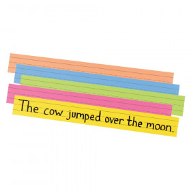 """Super Bright Sentence Strips, 5 Assorted Colors, 1-1/2"""" Ruled 3"""" x 24"""", 100 Strips"""