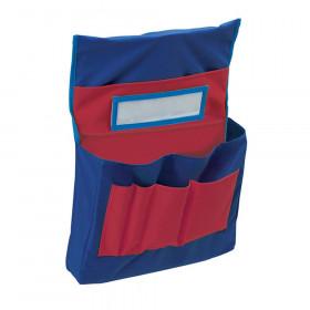 "Chair Storage Pocket Chart, Blue & Red, 18-1/2""H x 14-1/2""W x 2-1/2""D, 1 Chart"