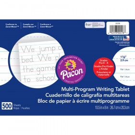 "Multi-Program Handwriting Paper, 1-1/8"" Ruled (Long Way), White, 10-1/2"" x 8"", 500 Sheets"