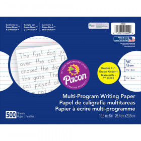 "Multi-Program Handwriting Paper, 5/8"" Ruled (Long Way), White, 10-1/2"" x 8"", 500 Sheets"