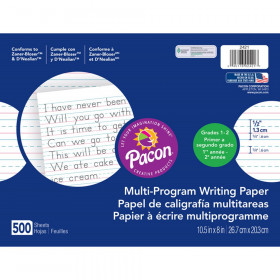 "Multi-Program Handwriting Paper, 1/2"" Ruled (Long Way), White, 10-1/2"" x 8"", 500 Sheets"