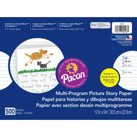 "Multi-Program Picture Story Paper, 5/8"" Ruled, White, 12"" x 9"", 500 Sheets"