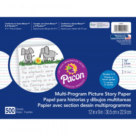 """Multi-Program Picture Story Paper, 1/2"""" Ruled, White, 12"""" x 9"""", 500 Sheets"""
