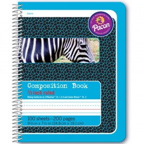 "Primary Composition Book, Spiral Bound, D'Nealian/Zaner-Bloser, 1/2"" x 1/4"" x 1/4"" Ruled, 9-3/4"" x 7-1/2"", 100 Sheets"