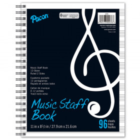 "Music Staff Paper, Spiral Bound Book, 8-1/2"" x 11"", 96 Sheets"
