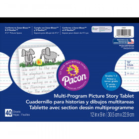 """Multi-Program Handwriting Tablet, D'Nealian/Zaner-Bloser, 1/2"""" x 1/4"""" x 1/4"""" Ruled & 4-1/4"""" Picture Story Space, 12"""" x 9"""", 40 Sheets"""