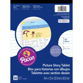 """Picture Story Ruled Newsprint Pad, 7/8"""" Ruled, White, 9"""" x 12"""", 50 Sheets"""