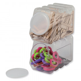 "Interlocking Storage Container With Lid, Clear, 5-1/2"" x 9-1/2"" x 6-3/4"""
