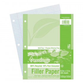 "Recycled Filler Paper, White, 3-Hole Punched, 9/32"" Ruled w/ Margin 8-1/2"" x 11"", 150 Sheets"