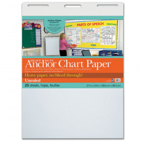 """Heavy Duty Anchor Chart Paper, Non-Adhesive, White, Unruled 27"""" x 34"""", 25 Sheets"""
