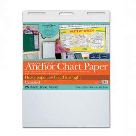 "Heavy Duty Anchor Chart Paper, Non-Adhesive, White, Unruled 24"" x 32"", 25 Sheets"