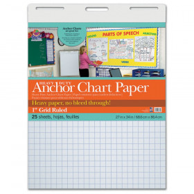 "Heavy Duty Anchor Chart Paper, Non-Adhesive, White, 1"" Grid Ruled 27"" x 34"", 25 Sheets"