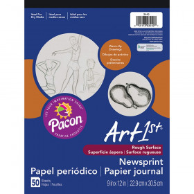 "Newsprint Pad, White, 9"" x 12"", 50 Sheets"