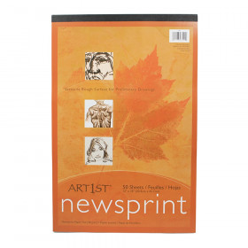 "Newsprint Pad, White, 12"" x 18"", 50 Sheets"