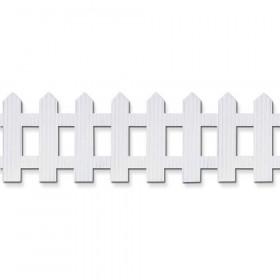 "Decorative Border, White, Picket Fence, 6"" x 16', 1 Roll"