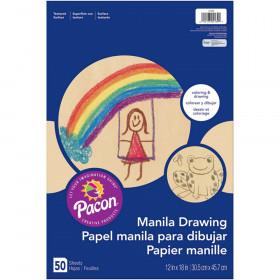 "Drawing Paper, Manila, Standard Weight, 12"" x 18"", 50 Sheets"
