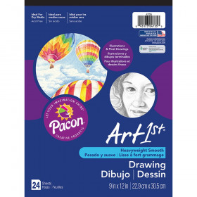 "Drawing Paper Pad, Heavyweight, 9"" x 12"", 24 Sheets"