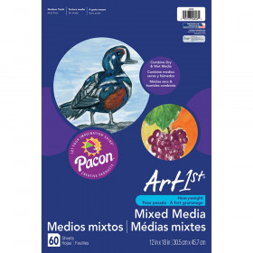 "Mixed Media Art Paper, Heavyweight, 12"" x 18"", 60 Sheets"