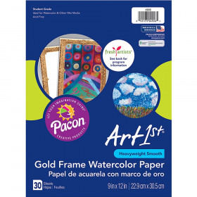 """Watercolor Paper, Gold Frame, 9"""" x 12"""", 30 Sheets"""